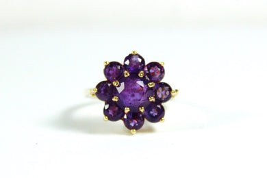 Vintage 18ct Yellow Gold Amethyst Daisy Cluster Ring