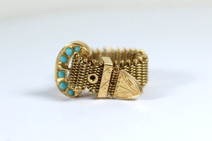 Vintage 18ct Yellow Gold Seed Turquoise Chain Mail Buckle Ring