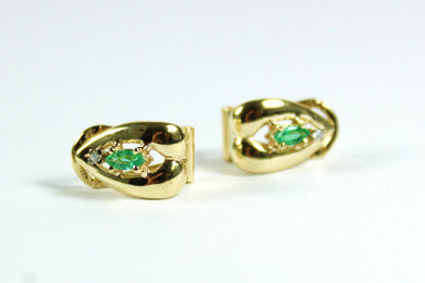 Vintage 9ct Yellow Gold Emerald and Diamond Clip On Earrings