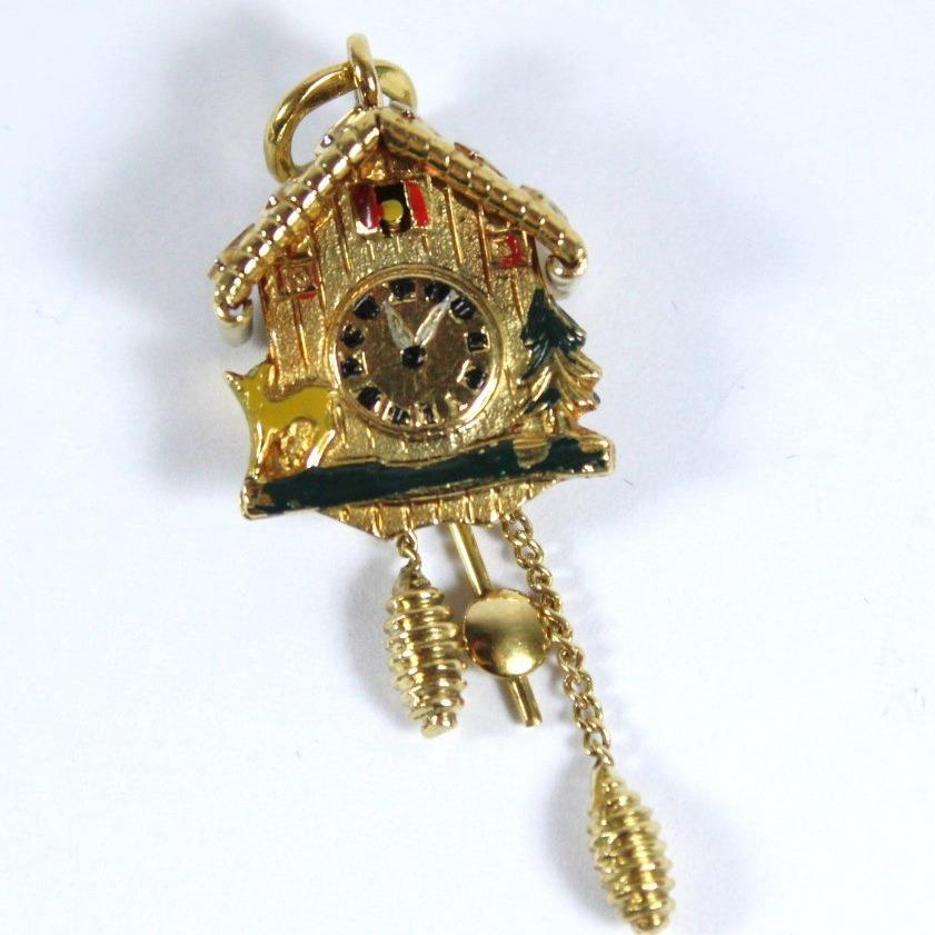 Vintage 18ct Yellow Gold Enamel Cuckoo Clock Pendant