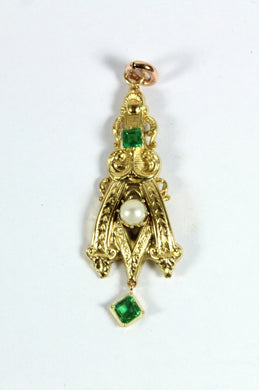 Vintage 10ct Yellow Pearl and Tsavorite Garnet Pendant