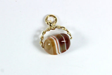 Vintage 9ct Yellow Gold Banded Agate Spinner Pendant