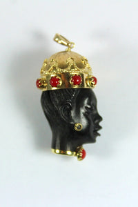 Vintage 18ct Yellow Gold Ebony African Bust Pendant