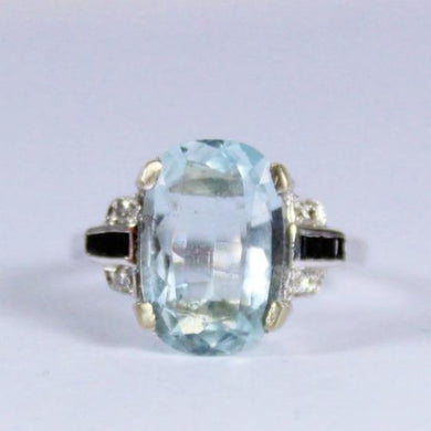 9ct White Gold Aqumarine, Sapphire and Diamond Dress Ring