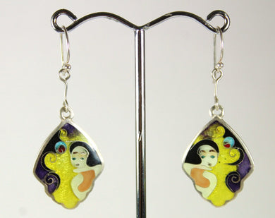 Handmade Sterling Silver Yellow and Purple Enamel Abstract Portrait Earrings