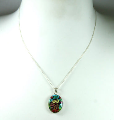 Handmade Sterling Silver Owl and Cat Enamel Double Sided Pendant