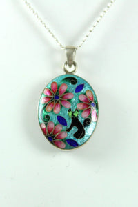 Handmade Sterling Silver Floral Black Cat Enamel Double Sided Pendant