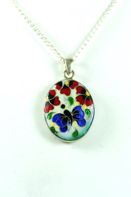 Handmade Sterling Silver Floral Enamel Double Sided Pendant