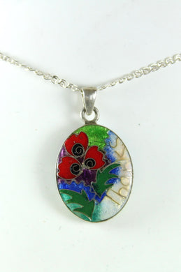 Handmade Sterling Silver Tree of Life and Pansy Enamel Double Sided Pendant