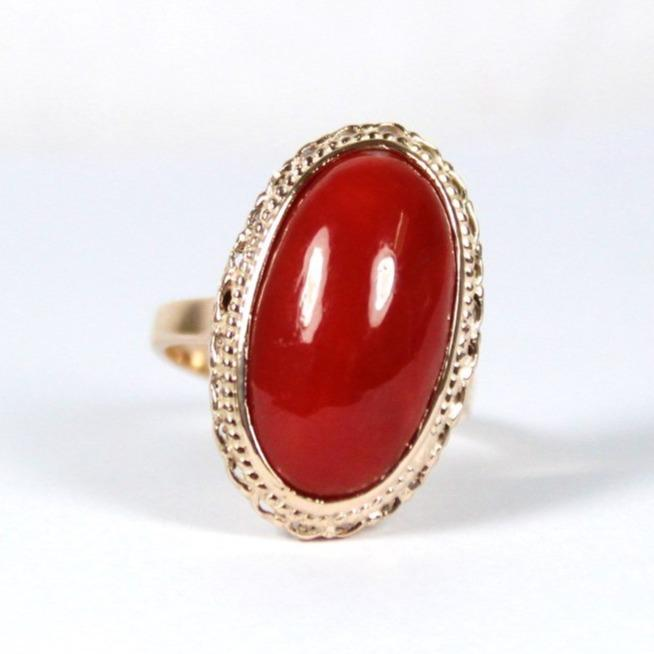 9ct Rose Gold Natural Momo Coral Cocktail Ring