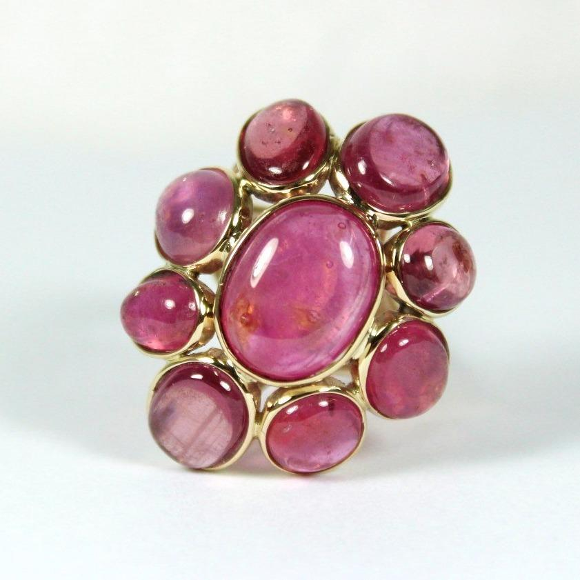 9ct Yellow Gold Cabochon Rubelitte Tourmaline Cocktail Ring