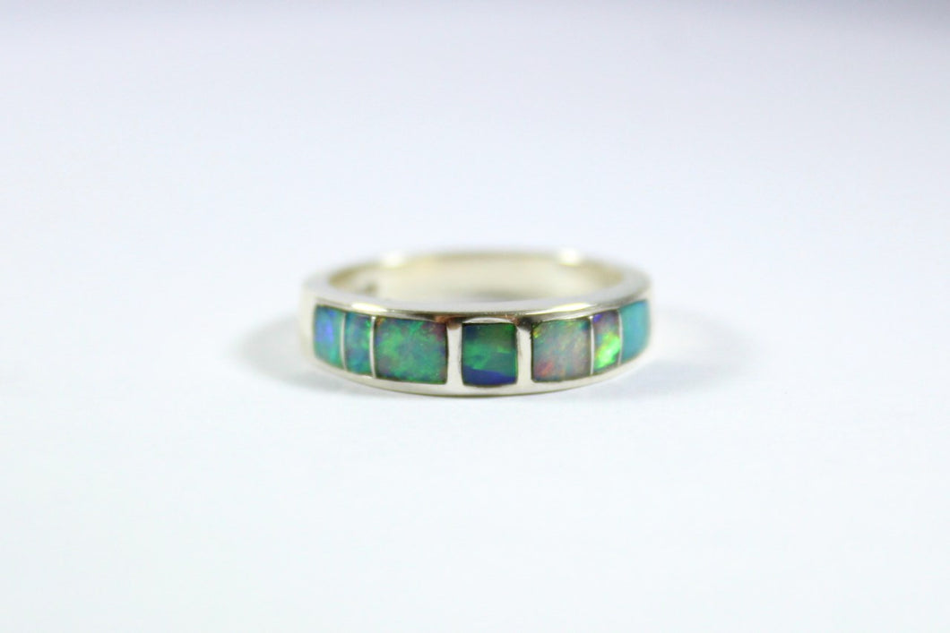 Sterling Silver Solid Opal Band Ring