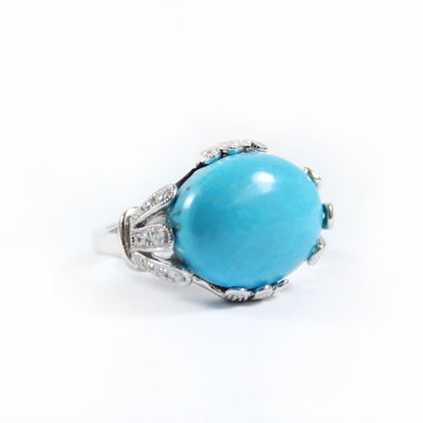 9ct White Gold Turquoise and Diamond Ring