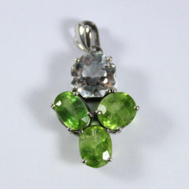 9ct White Gold Peridot and Topaz Pendant