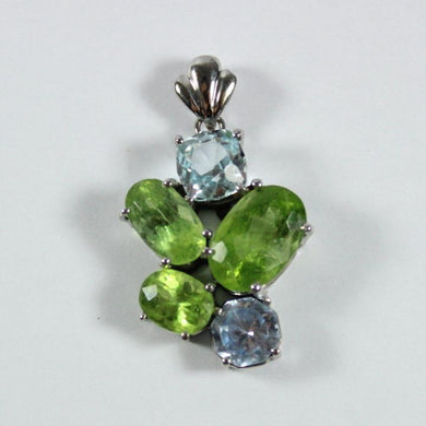 9ct White Peridot and Topaz Pendant