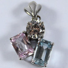 9ct White Gold Blue, Pink and White Topaz Pendant