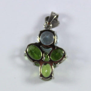 9ct White Gold Peridot and White Topaz Pendant