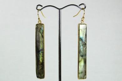 Sterling Silver Gold Plate Labradorite Drop Earrings