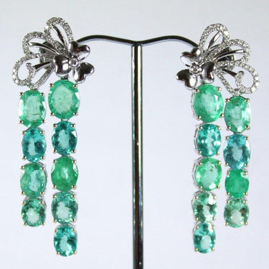 9ct White Gold Paraiba Tourmaline, Apatite and Diamond Drop Earrings