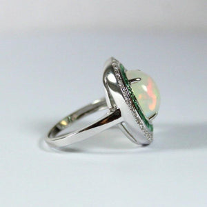 9ct White Gold Opal, Diamond and Gemstone Dress Ring