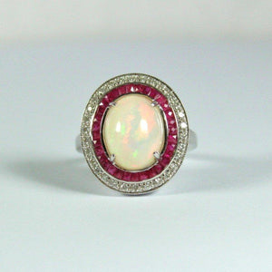 9ct White Gold Opal, Ruby and Diamond Dress Ring