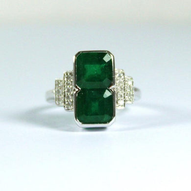 9ct White Gold Emerald and Diamond Cocktail Ring