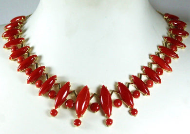 9ct Yellow Gold Momo Coral Deco Style Collar Necklace