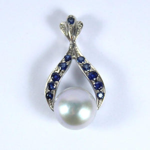9ct White Gold Pearl, Sapphire and Diamond Pendant