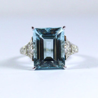 9ct White Gold Deco Style 8.28ct Aquamarine and Diamond Dress Ring