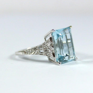 9ct White Gold 8.28ct Aquamarine and Diamond Dress Ring