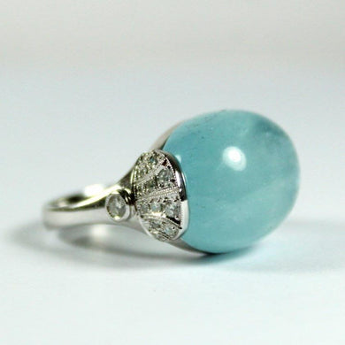 9ct White Gold 18.44ct Cabochon Aquamarine and Diamond Dress Ring