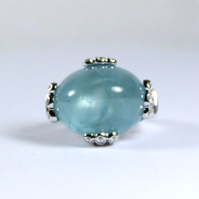 9ct White Gold 27.5ct Cabochon Aquamarine and Diamond Dress Ring