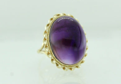 Vintage 9ct Yellow Gold Cabochon Amethyst Cocktail Ring