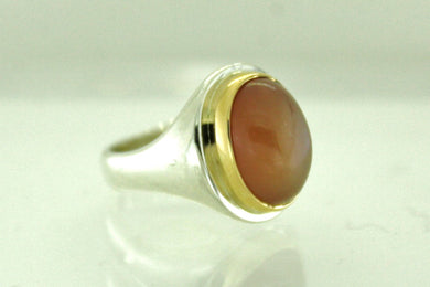 Vintage Sterling Silver and 18ct Yellow Gold Yellow Moonstone Ring