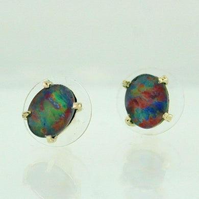 9ct Yellow Gold Semi-Black Doublet Opal Studs