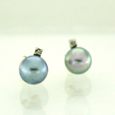 9ct Yellow Gold Grey Pearl and Diamond Stud Earrings