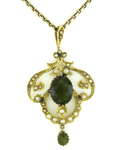 Antique Edwardian 18ct Yellow Gold Green Tourmaline and Seed Pearl Pendant