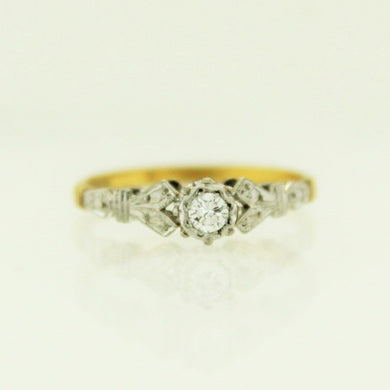 Vintage 18ct Yellow Gold and Platinum Diamond Engagement