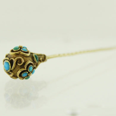 Antique 9ct Yellow Gold Turquoise Hat Pin