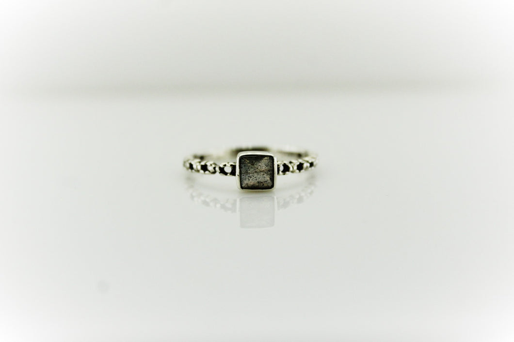 Sterling Silver Engraved Square Gemstone Ring