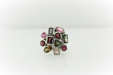 Sterling Silver Assorted Tourmaline Cocktail Ring