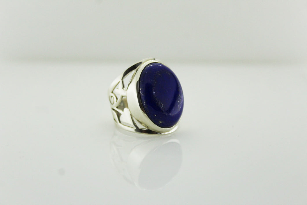 Sterling Silver Engraved Lapis Lazuli Cocktail Ring