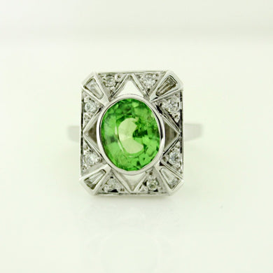 9ct White Gold Tsavorite Garnet and Diamond Cocktail Ring