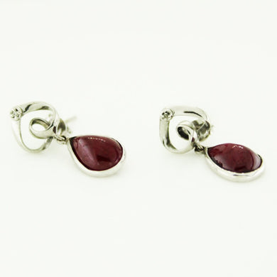 9ct White Gold Star Ruby and Diamond Stud Earrings
