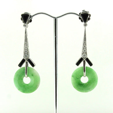 9ct White Gold Jadeite, Onyx and Diamond Drop Earrings