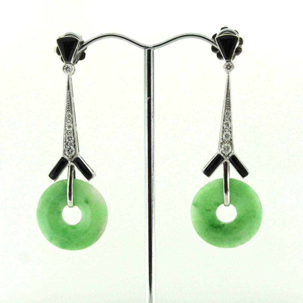 9ct White Gold Jadeite, Onyx and Diamond Deco Style Drop Earrings