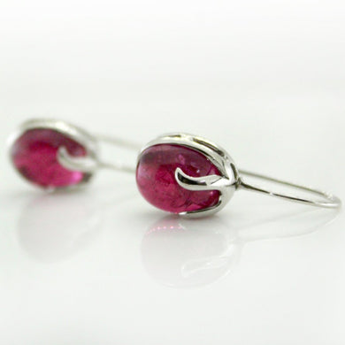9ct White Gold Cabochon Rubelite Tourmaline Drop Earrings