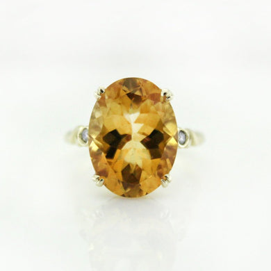 9ct Yellow Gold Citrine and Diamond Dress Ring