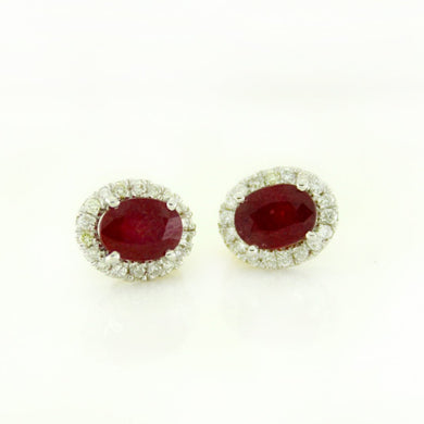 9ct White Gold Ruby and Diamond Cluster Stud Earrings