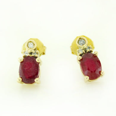 9ct Yellow Gold Ruby and Diamond Stud Earrings